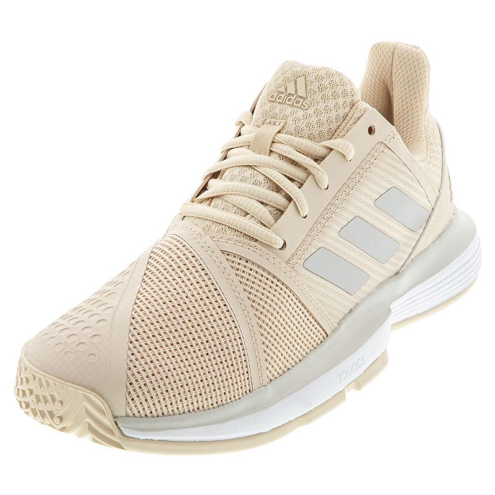 Adidas Women S Courtjam Bounce Tennis Shoes Linen And Gray One G26834 F19 In 2020 Adidas Women Tennis Shoes Shoe Lacing Techniques