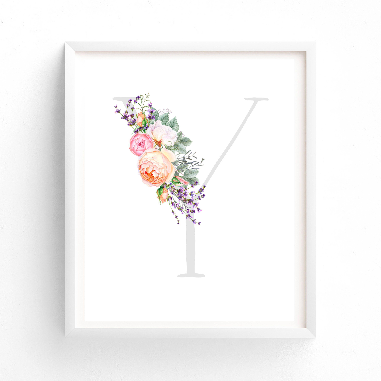 Buchstabe Y Floral Tapete KinderzimmerDrucke bedruckbare