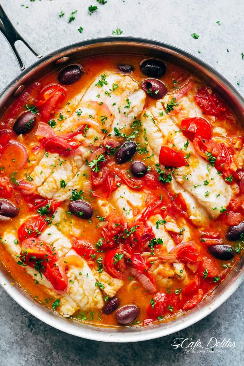Pan Seared Fish With Tomatoes Olives Recipe Fish Recipes Healthy Cod Fish Recipes Seared Fish
