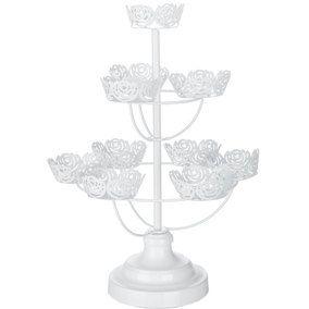 White Floral Metal 10 Cupcake Holder Cupcake Holder Wedding Venue Decorations Chic Wedding Venues