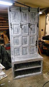 Photo of Hall tree  mud room bench  old wooden door hall tree  repurposed door  entryway …