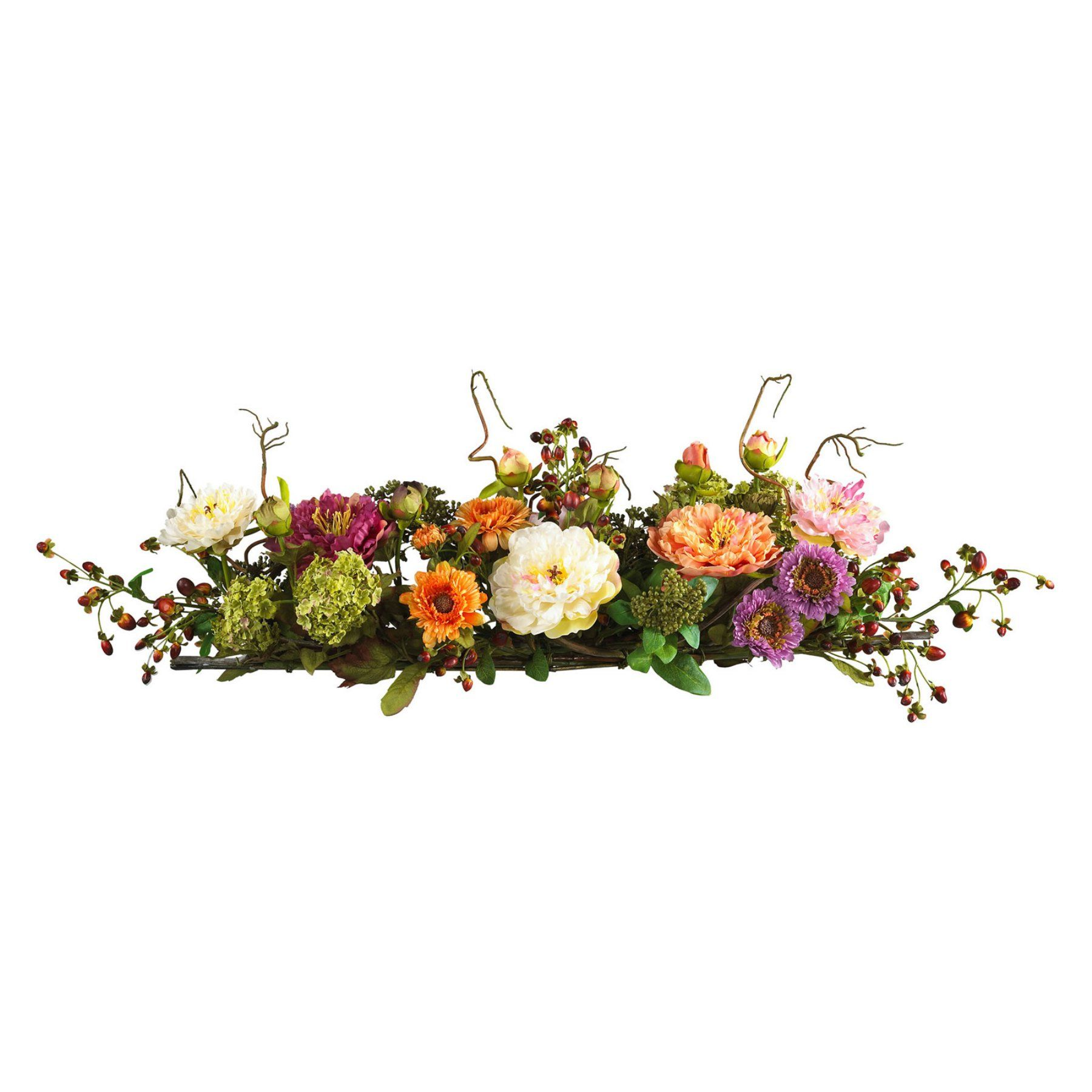 Nearly Natural Mixed Peony Centerpiece Silk Flower 4665 Silk