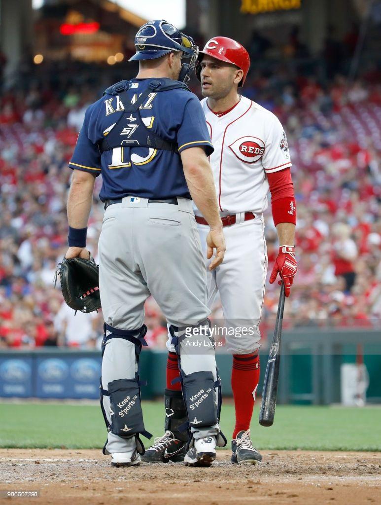 Erik Kratz Mil Joey Votto Cin June 28 2018 At Cin Joey Votto Cincinnati Reds Baseball