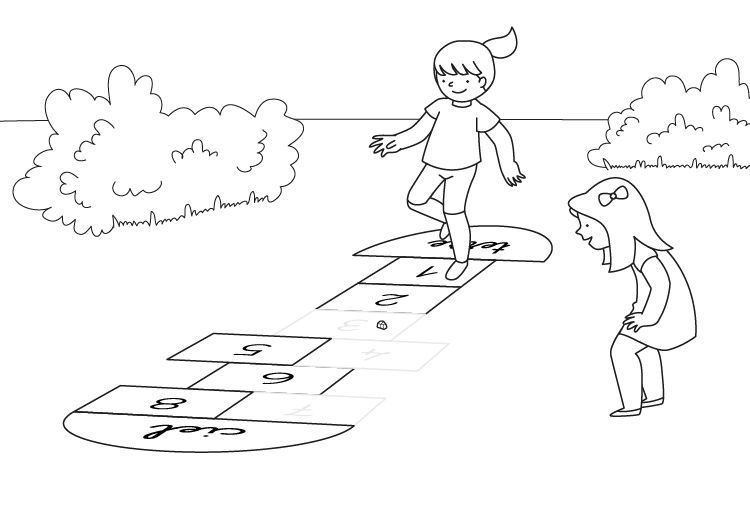 Láminas Para Colorear Juegos Tradicionales: Rayuela: Dibujo Para Colorear E Imprimir