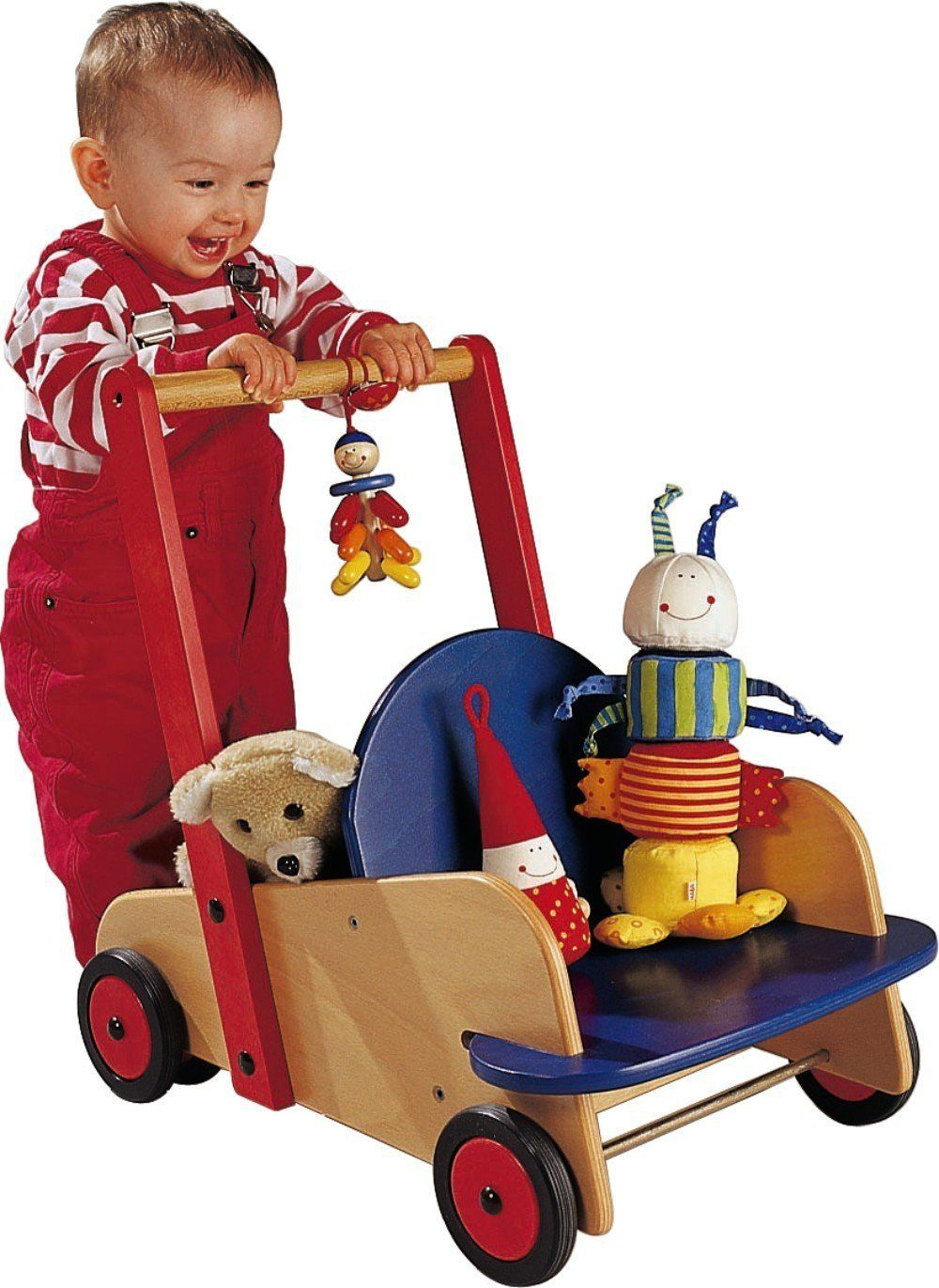 Amazon Com Haba Walker Wagon First Wooden Push Toy With Seat Storage For 10 Months And U Brinquedos De Madeira Artesanato Em Papelao Artigos Para Criancas