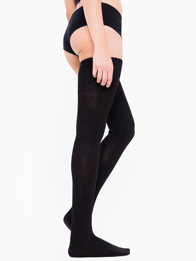 American Apparel Women's Cotton Solid Thigh-High Socks One Size Black