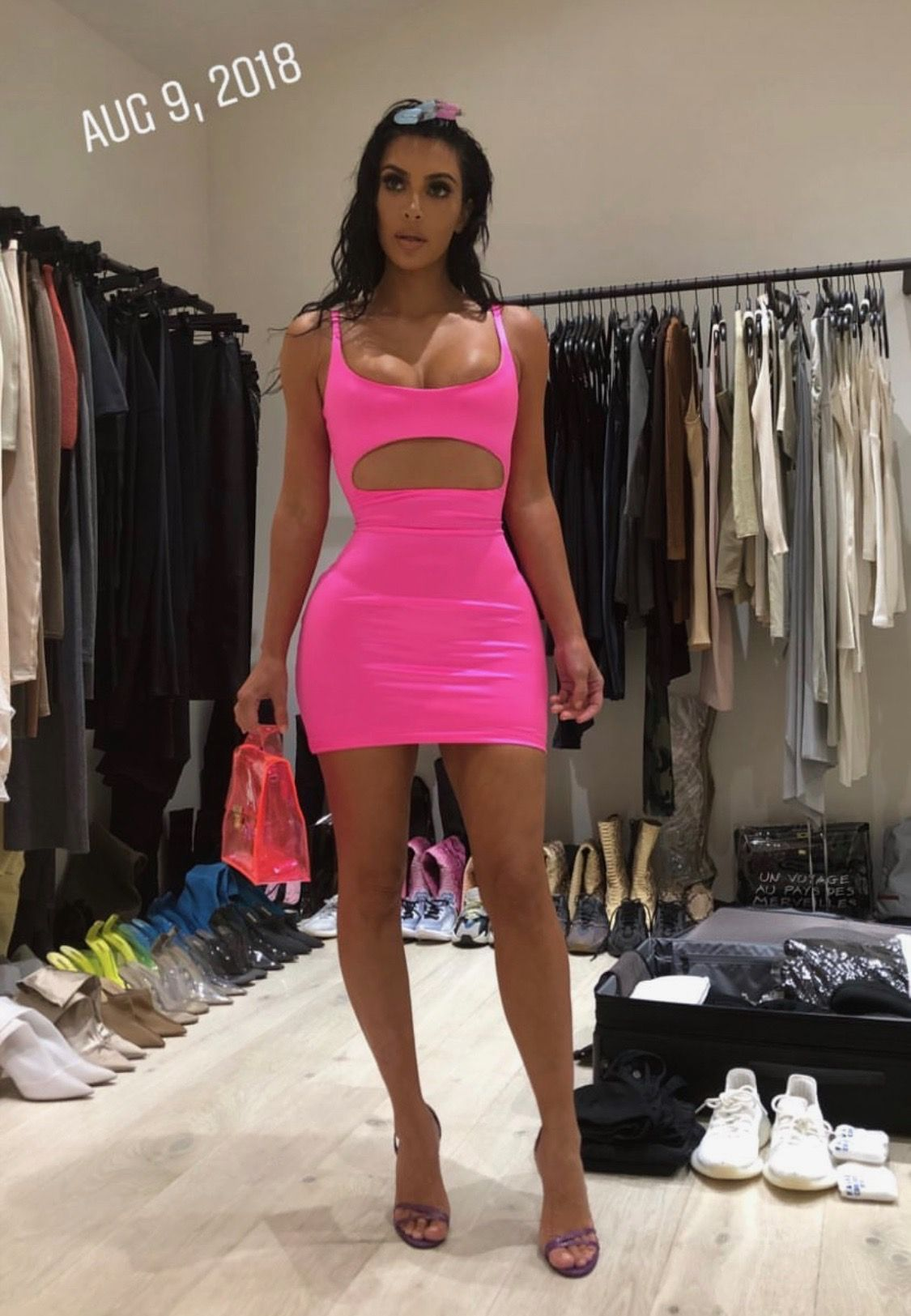 yeezy pink dress