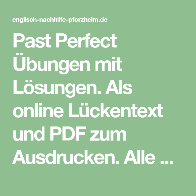Past Perfect Übungen für die 7. Klasse mit Lösungen | Englisch ...