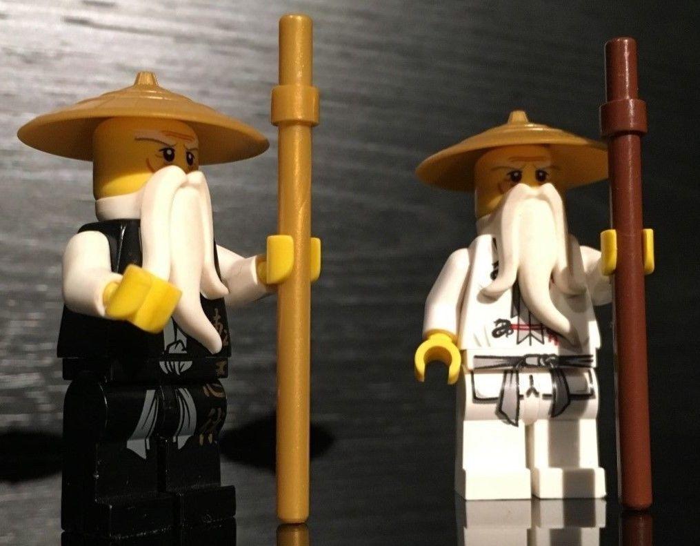 2 Lego Ninjago Master Sensei Wu Ninja Minifigures White And Black Dragon Ebay Mini Figures Black Dragon White And Black
