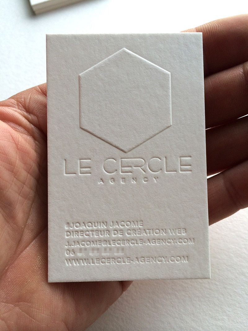 White Blind Letterpress Business Card   Le Cercle Agency