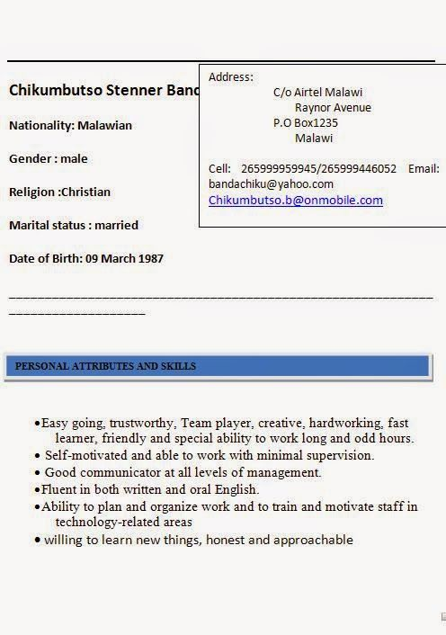 Personal Attributes For Resume 2013 Resume Templates Sample Template Example Ofexcellent Curriculum .