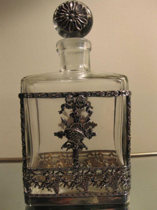 Vtg Cologne Scent Bottle Decanter w Flower Baskets Filagree Case Ormolu Stopper   eBay