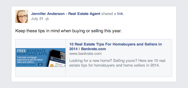 Good Real Estate Agent Facebook Example  Apps For Real Estate