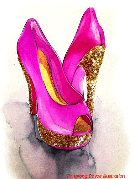 Original painted shoes fashion by RongrongIllustration on Etsy