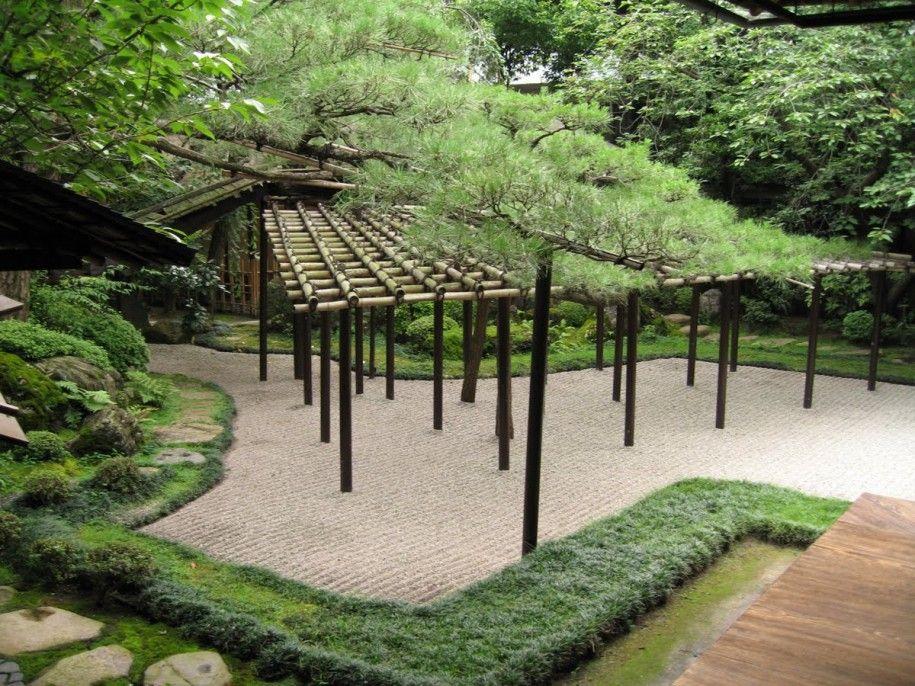 bamboo pergola | Classic Bamboo Pergola White Gravel ...