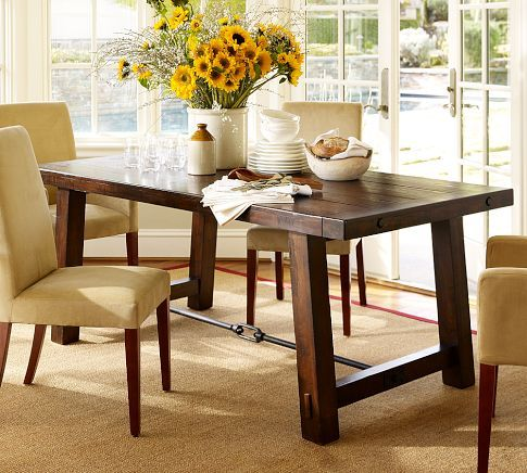 """Benchwright Dining Table 74 X 38"""" Rustic Mahogany Stain Pleasing Dining Room Sets Pottery Barn Inspiration"""