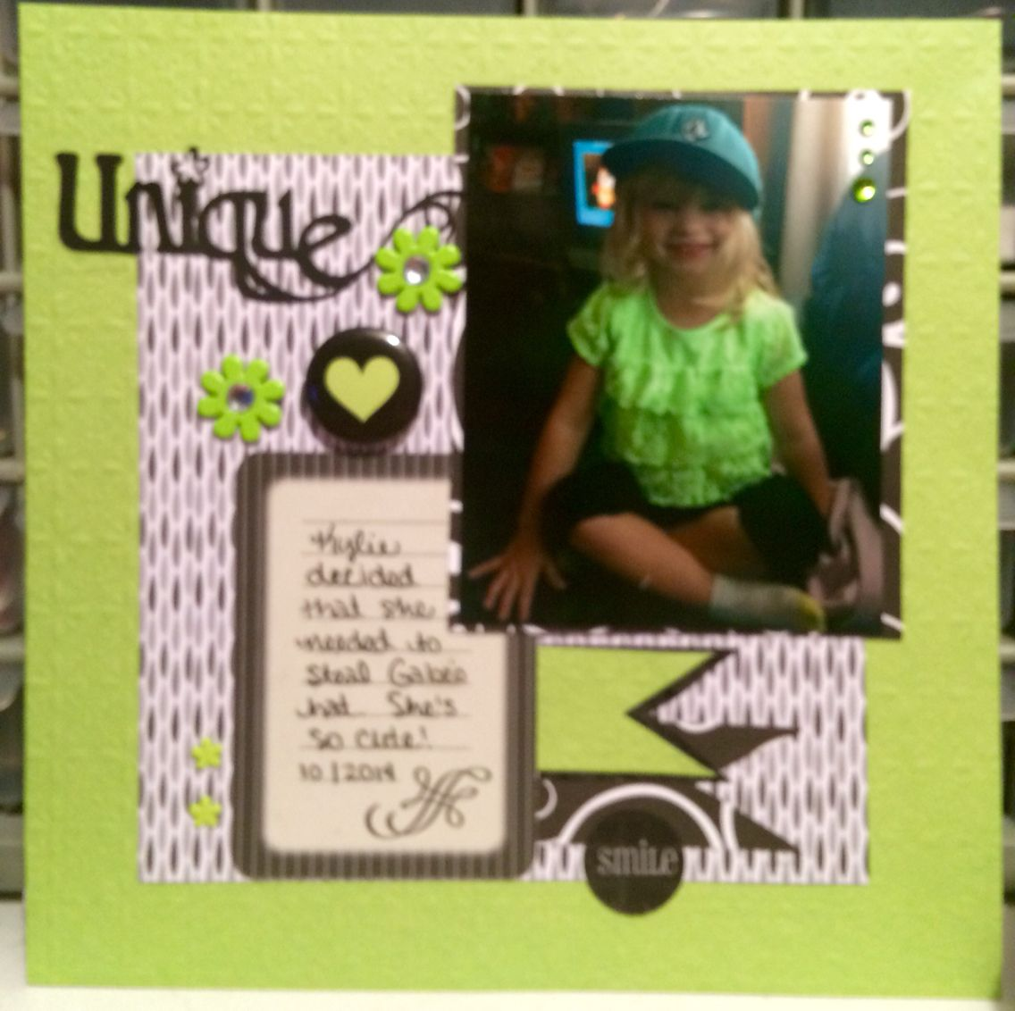 How to scrapbook 8x8 layouts - 8x8 Scrapbooking Layout Green Black Gray