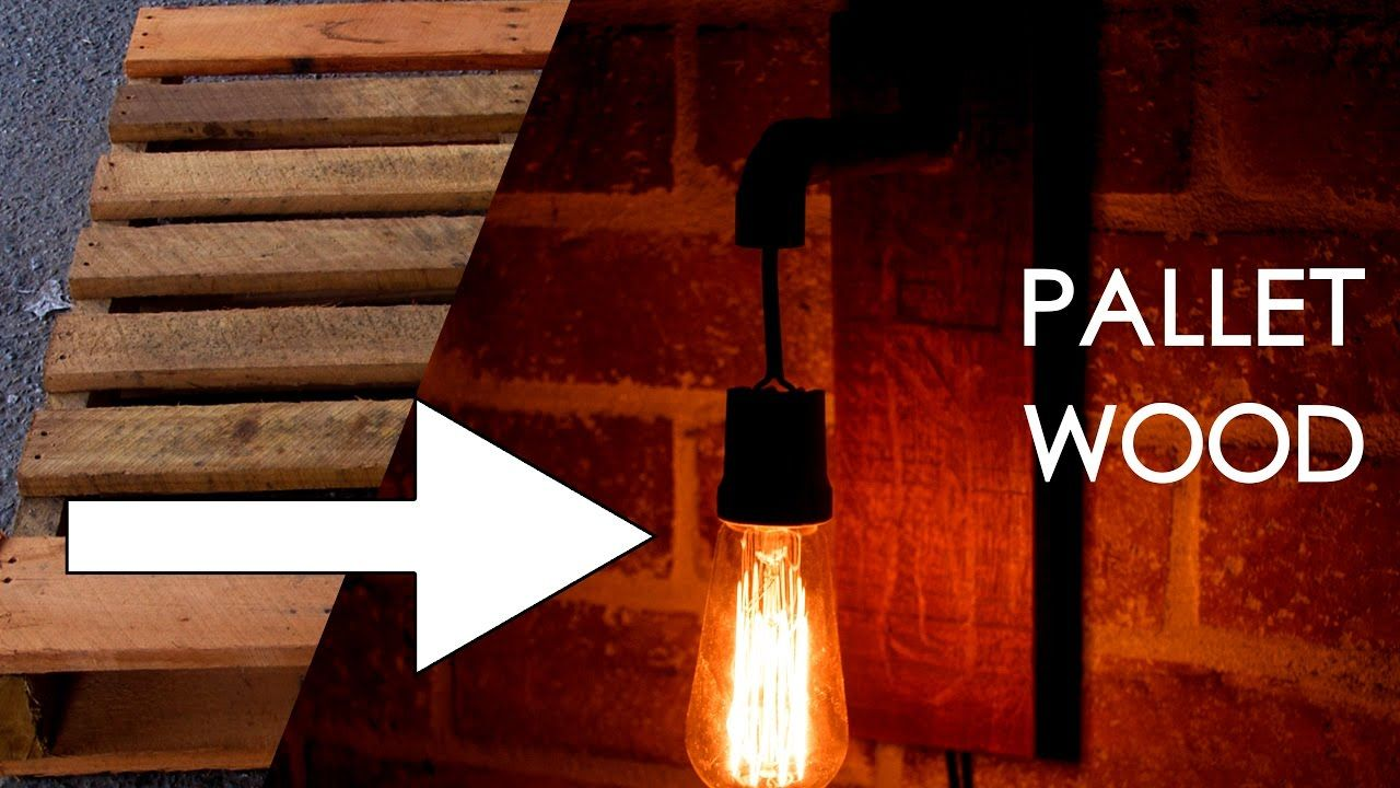 Make an industrial wall sconce with pallet wood and copper ...