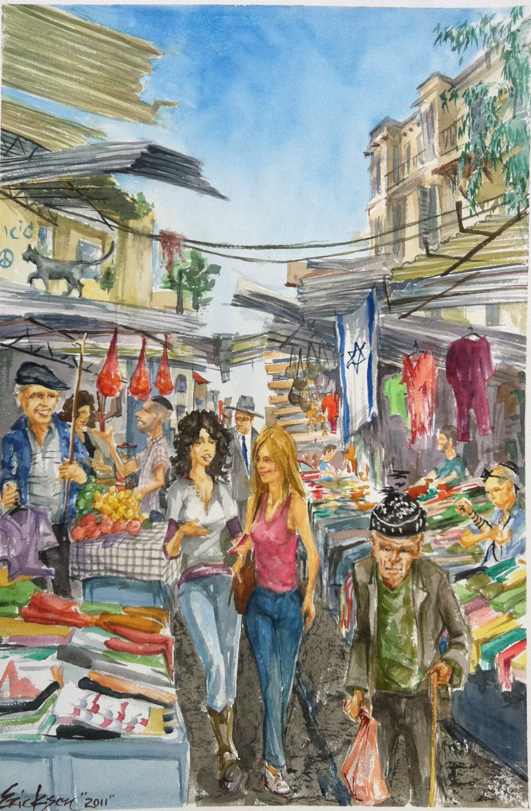 NYC, NY Street Artist Painting In ISRAEL Contemporary Lee Erickson  Watercolour Painting Title:  Great Ideas