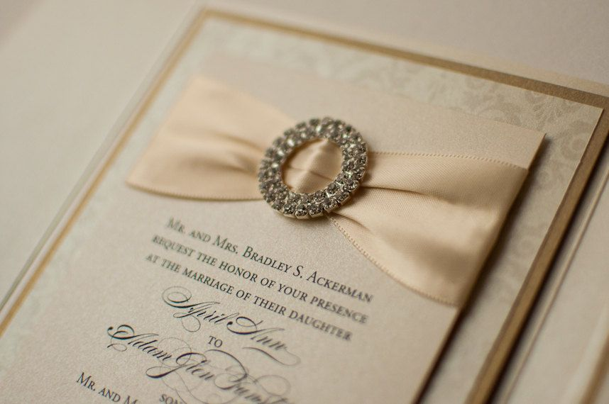 Ribbon \ Buckle Formal Wedding Invitation in Ivory and Gold, via - fresh formal invitation to judges