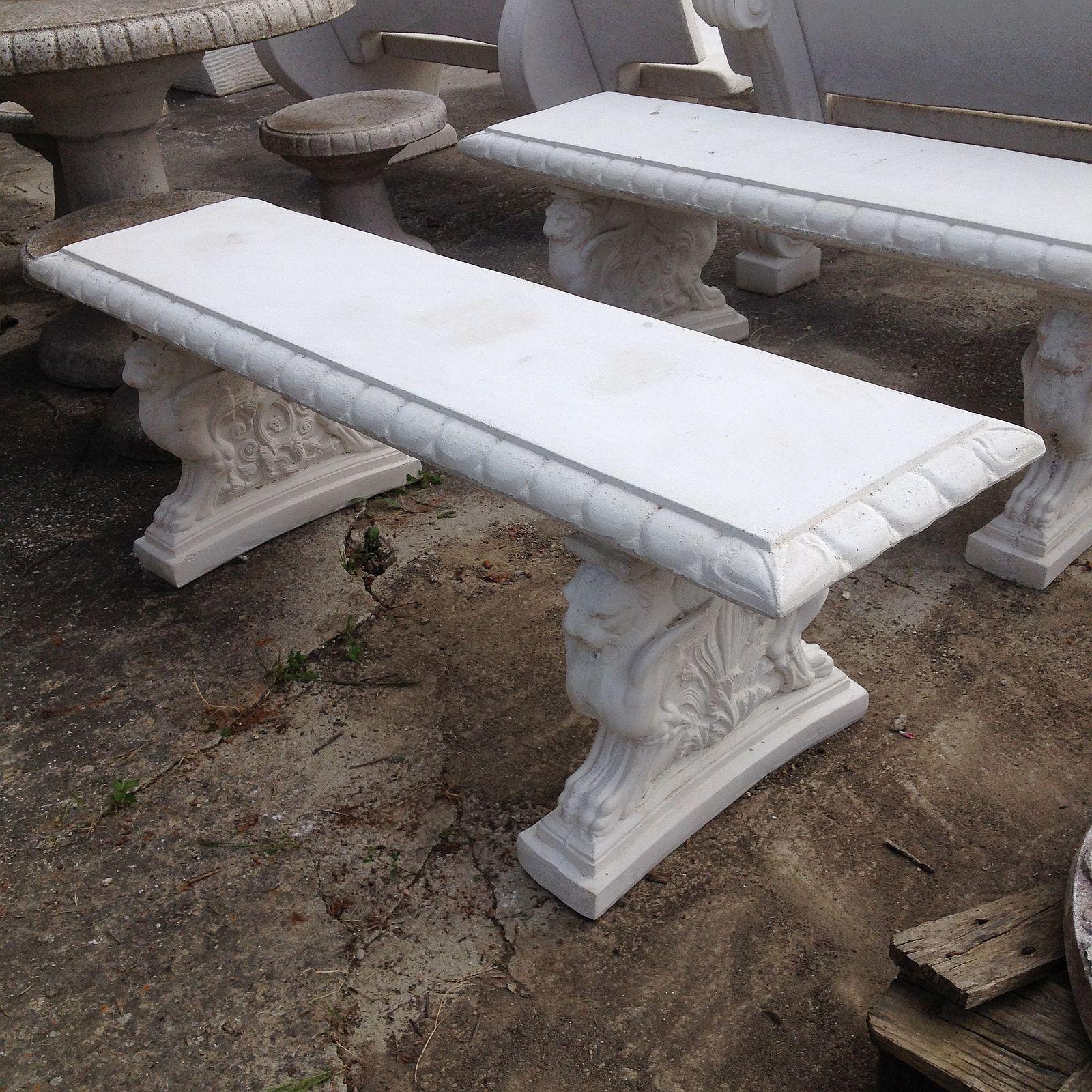 Panchine In Cemento Da Esterno.160 Panchina Lavorata Senza Schienale In Cemento E Marmo Cm