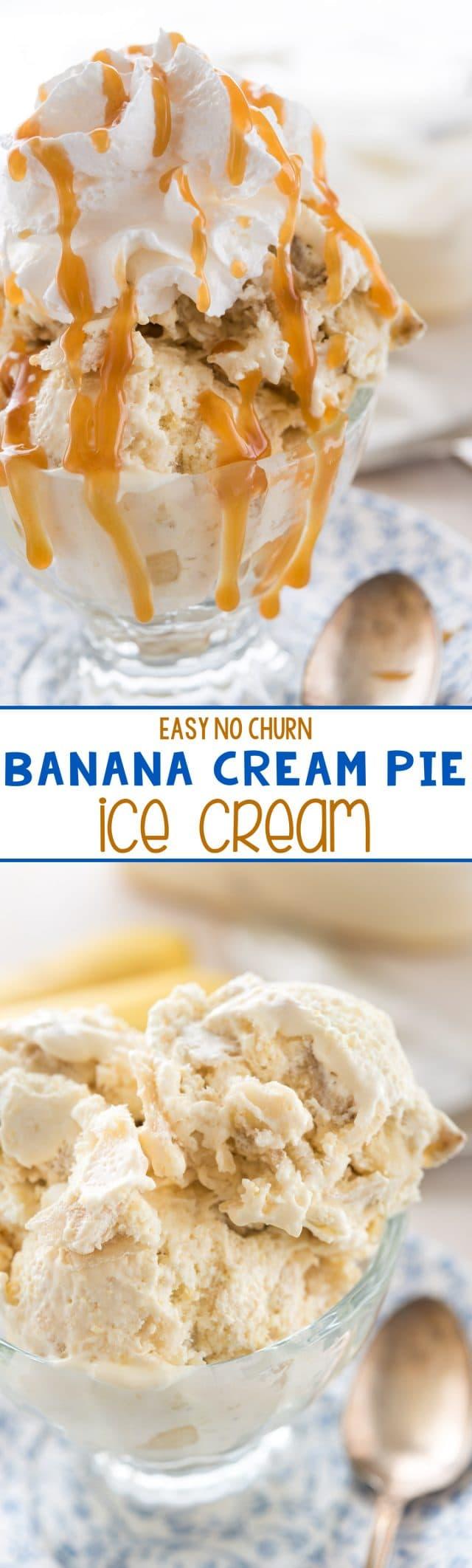 Easy Banana Cream Pie Ice Cream - this No Churn Ice Cream Recipe tastes just like a DQ Blizzard!