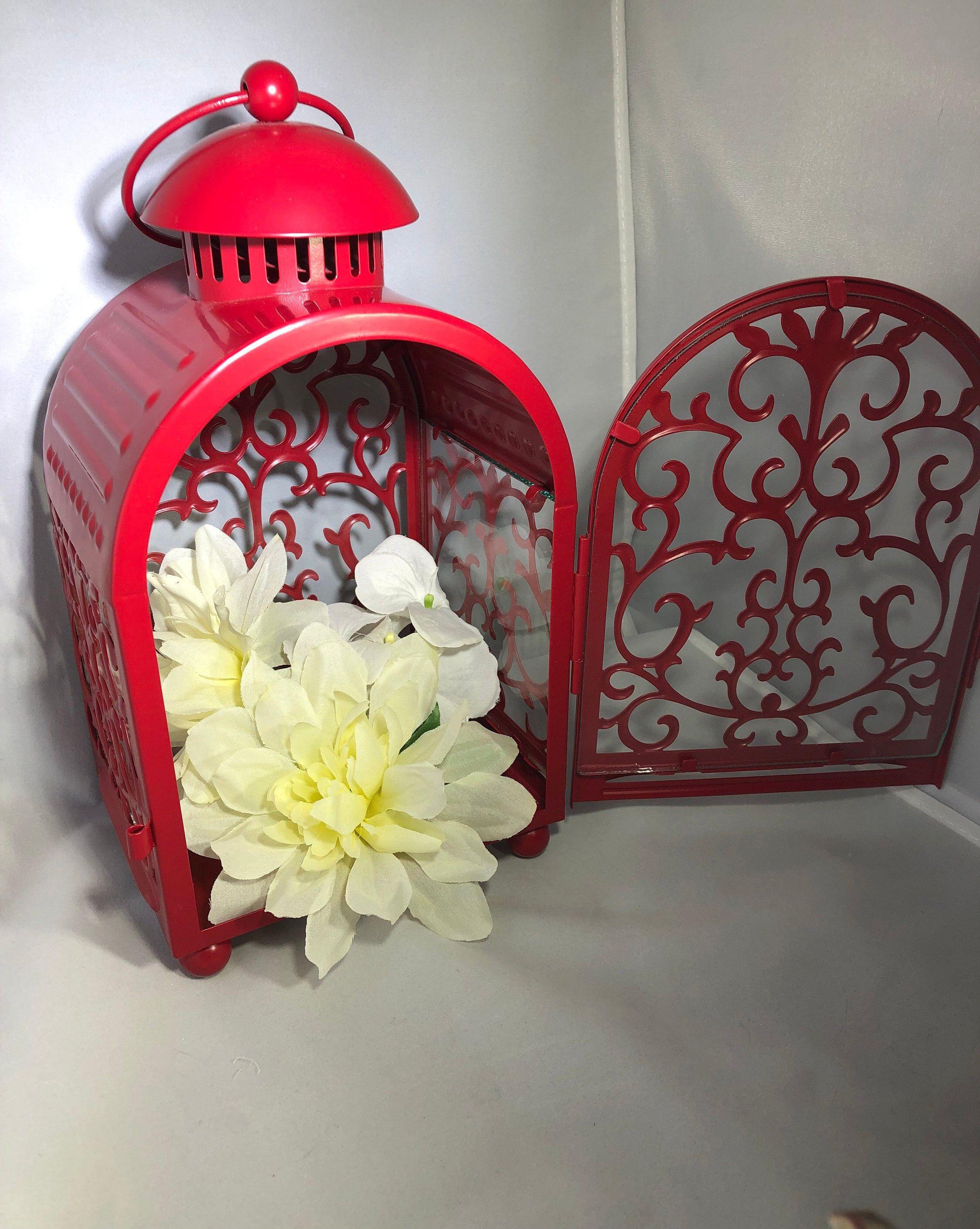 Vintage Red Lantern With Asian Motif