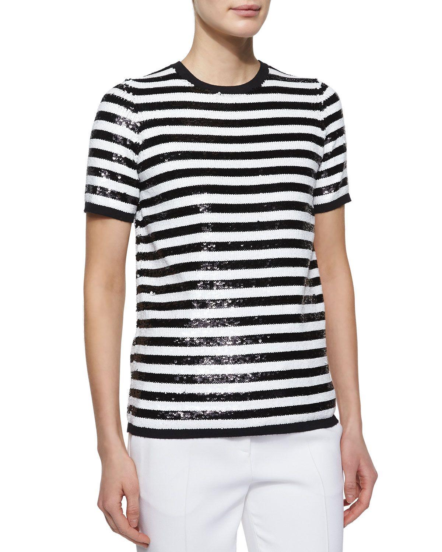 43111b1c8fa Michael Kors Allover Sequin Striped Tee