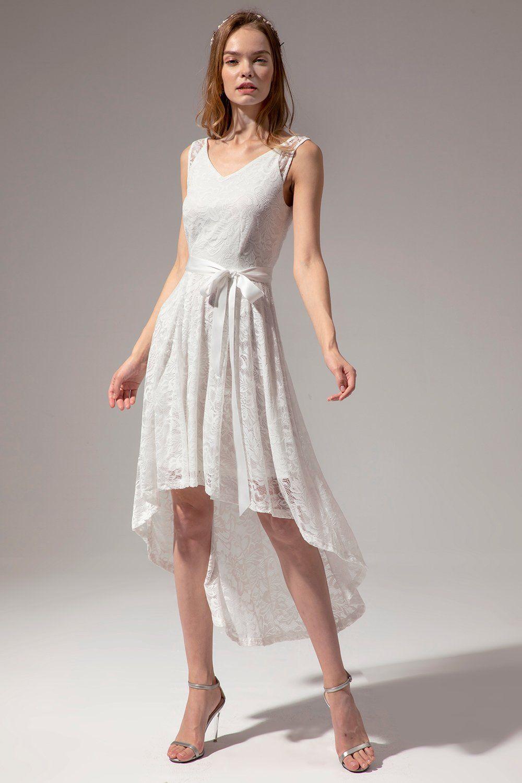 White Lace High Low Dress Short Lace Wedding Dress Dresses Petticoat Dress [ 1500 x 1000 Pixel ]