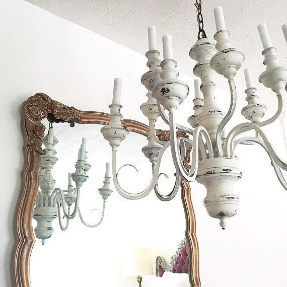 Paint idea TLS White Distressed Chandelier Hanging Light large – Cottage Chandeliers
