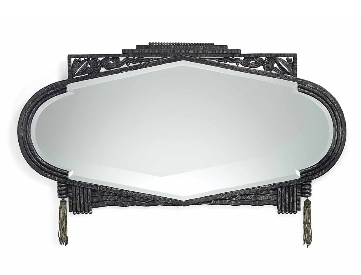 PAUL KISS (1885-1962) A MIRROR, CIRCA 1930 wrought-iron with metal-thread tassels 17¾ in. (45 cm.) high, 33¼ in. (84.5 cm.) wide stamped P. KIS PARIS
