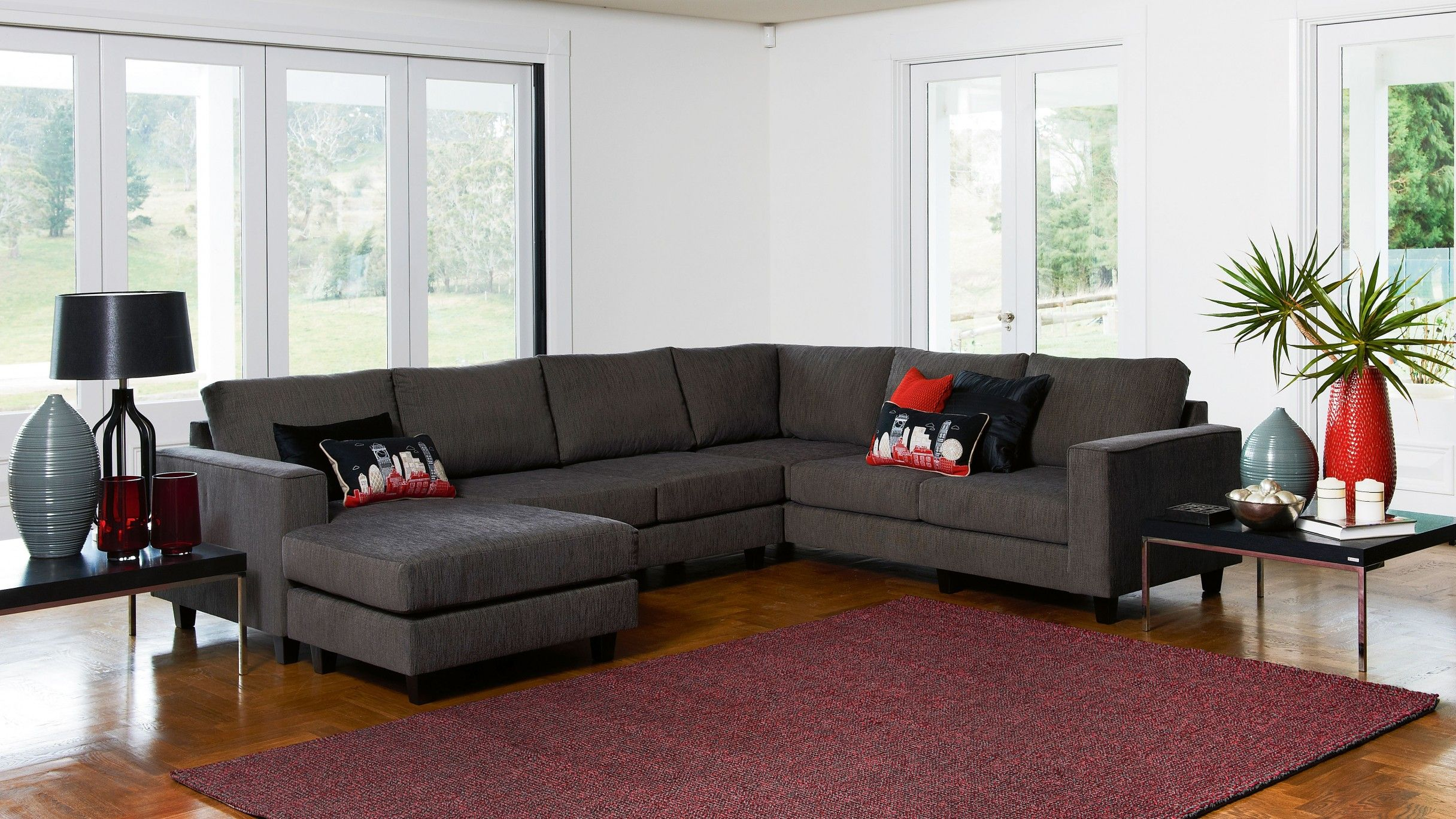 Yarra Corner Modular Lounge Suite with Chaise - Lounges & Recliners ...