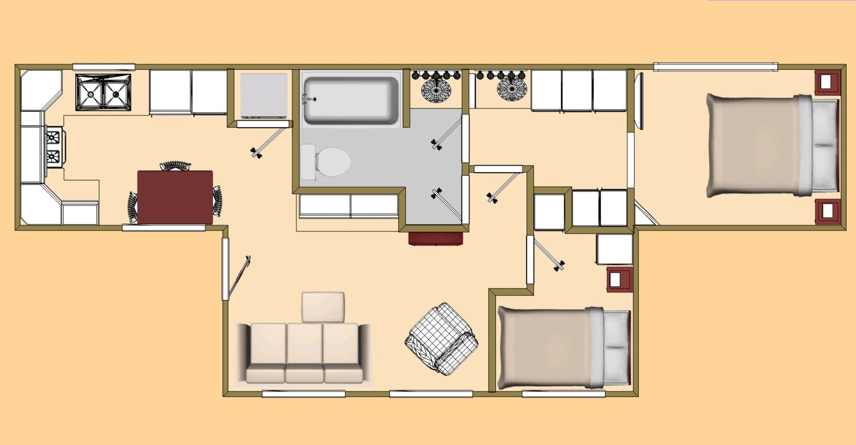 the 480 sq ft big t shipping container floor plan view. | cozy's