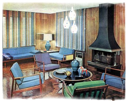 virtual writers colony | 1950s interior, conversation area and