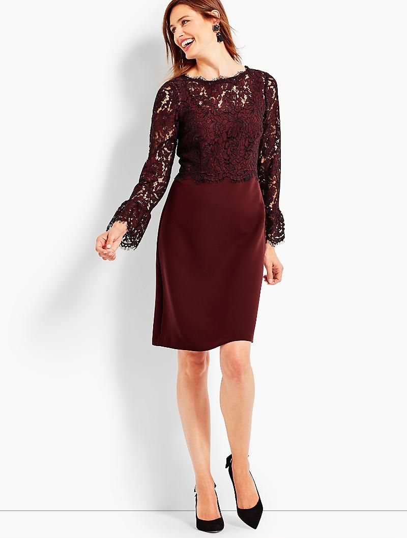 Lace Bodice Flounce Sleeve Dress Talbots