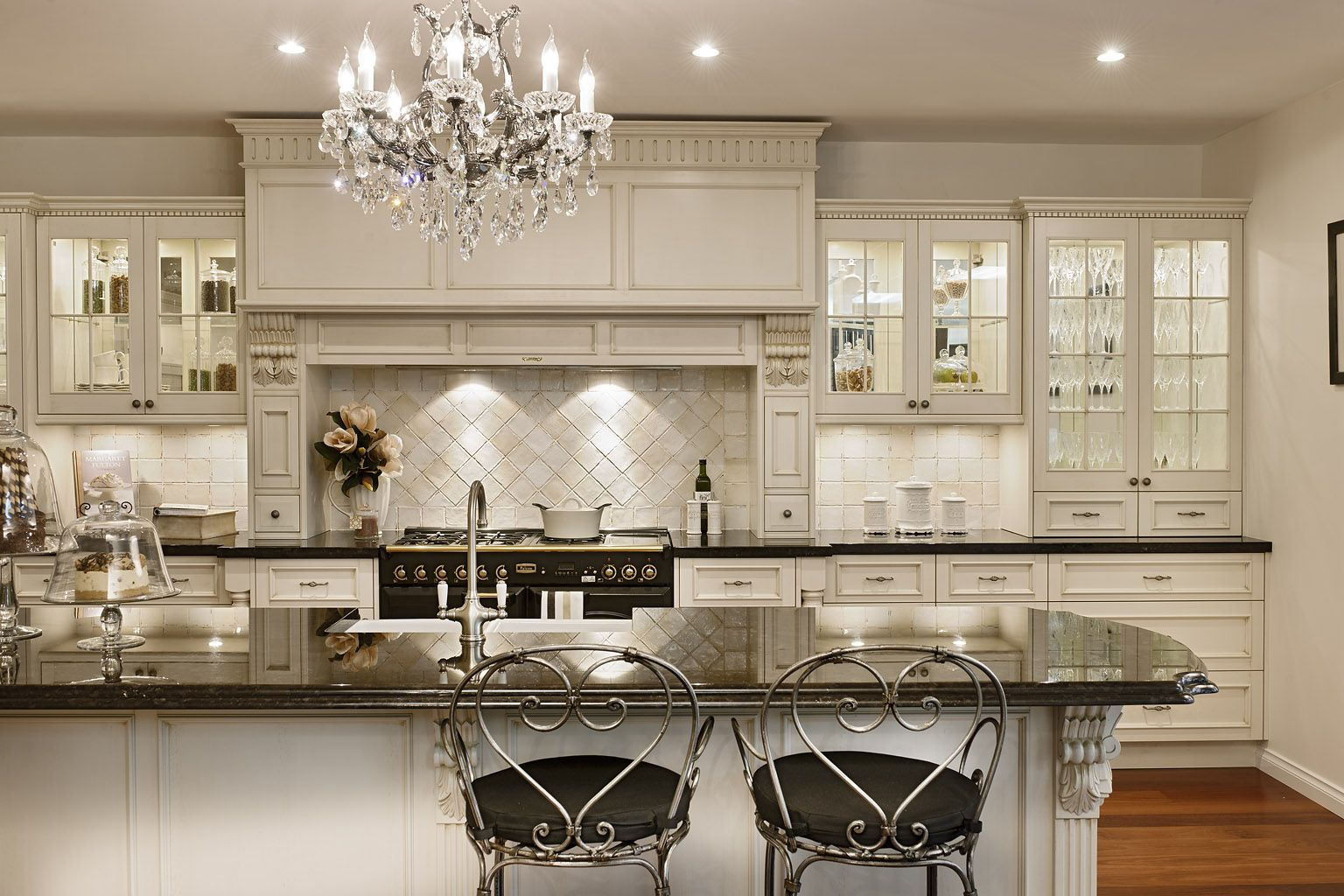 Lovely Kitchen Chandelier Antique White Kitchen Cabinets