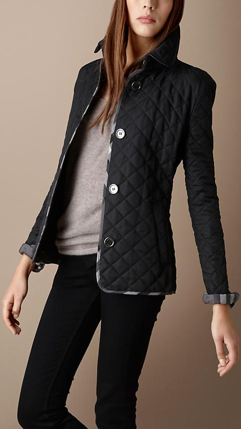 Burberry Check Trim Quilted Jacket Quilted Jacket Outfit Womens Quilted Jacket Burberry Quilted Jacket