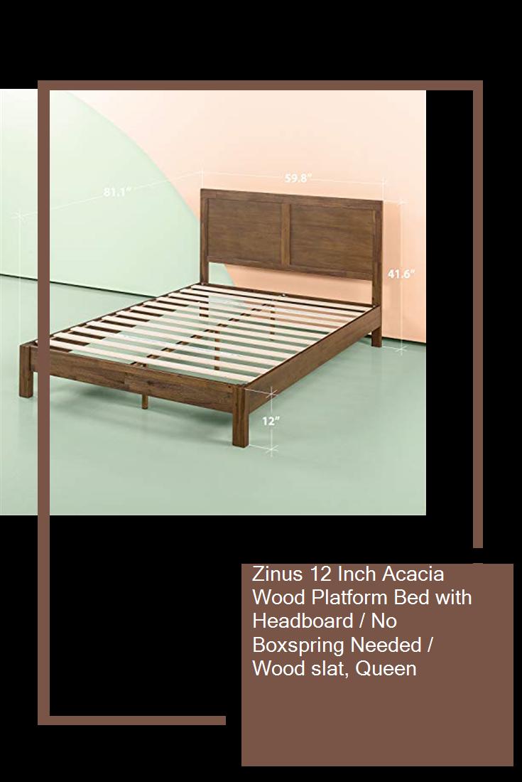 Zinus 12 Inch Acacia Wood Platform Bed With Headboard No