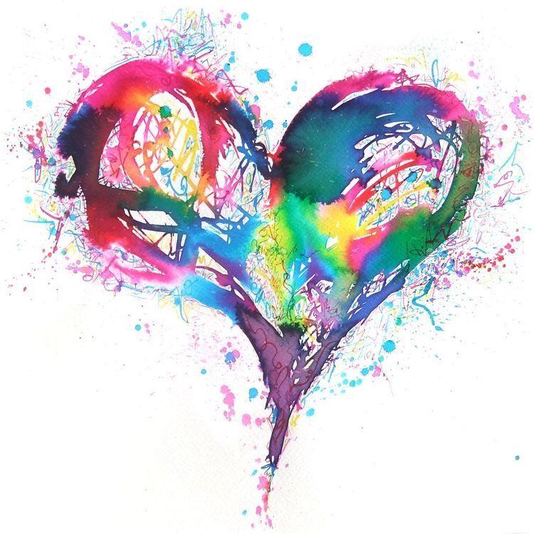 Pin By Isabel Lisboa On Aquarela In 2019 Watercolor Heart