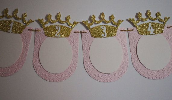 12 Month Photo Banner Princess Birthday Baby 39 S 1st Birthday Pink Gold Bunting Unique Birthday Birthday Banner Princess Birthday Birthday Candle Quotes