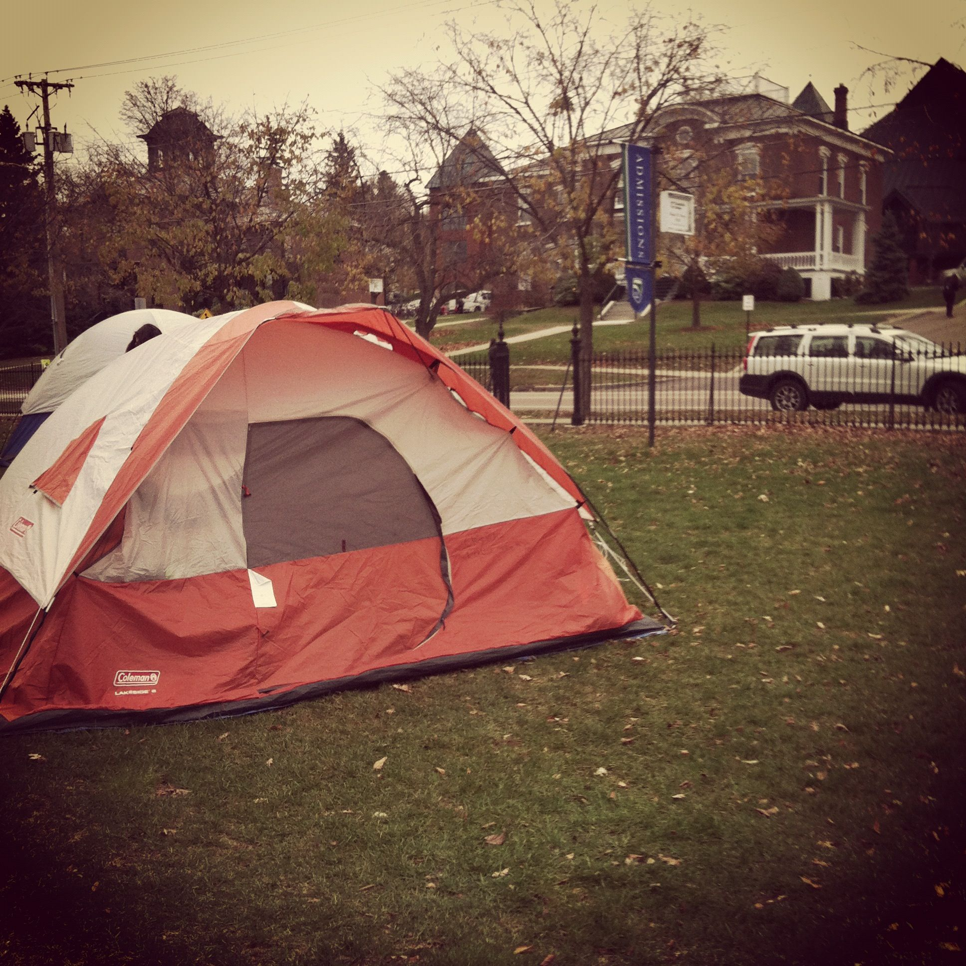 Annual Tent City at Ch&lain College. Students sleep outside in tents to raise awareness for & Annual Tent City at Champlain College. Students sleep outside in ...
