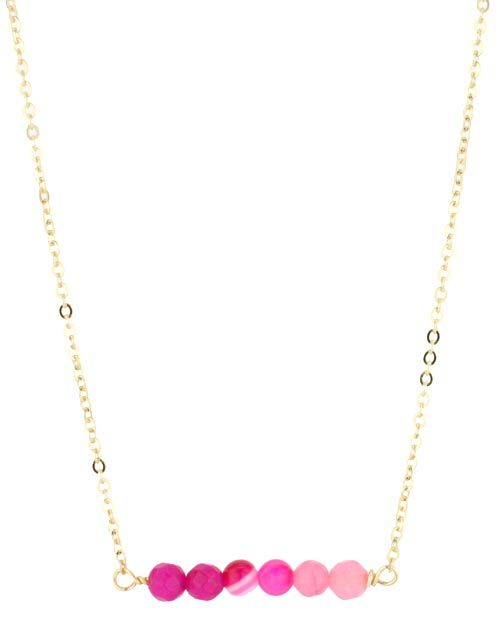 Rory Ashton Hot Pink Candy Jade Bar Necklace