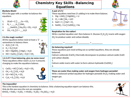 Balancing Chemical Equations Differentiated and