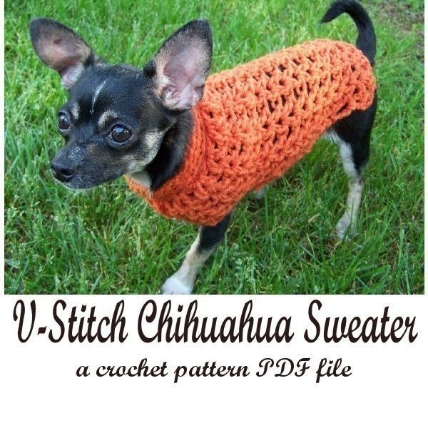 V-Stitch Chihuahua Sweater crochet pattern PDF file. $3.00, via Etsy ...