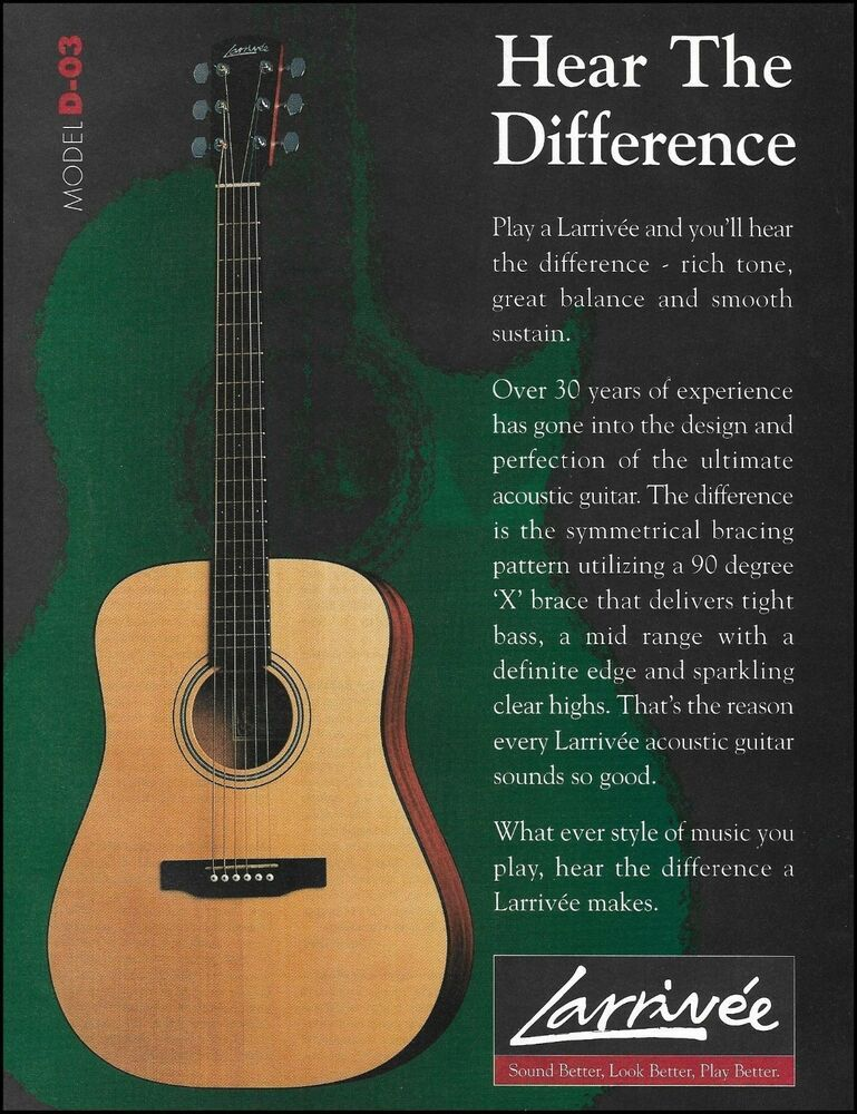The 1998 Larrivee Model D 03 Acoustic Guitar Ad 8 X 11 Advertisement Print Larrivee In 2020