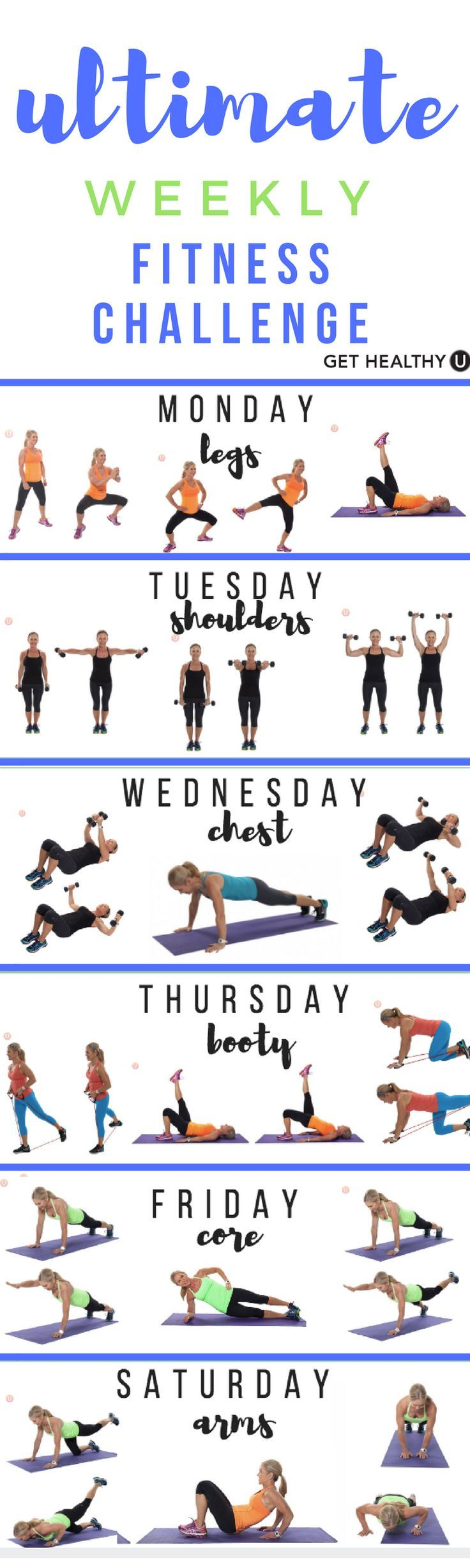 Check out our Ultimate Weekly Fitness Challenge! We've come up with a Weekly Fitness Challenge to keep your body guessing, making it work harder to adapt to what's new. And when your body works harder, you'll start seeing results!