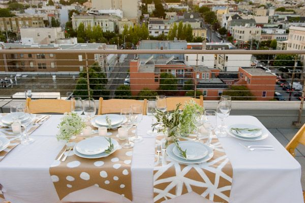 Charmant Table Decorations · Cute Rooftop Dinner Party