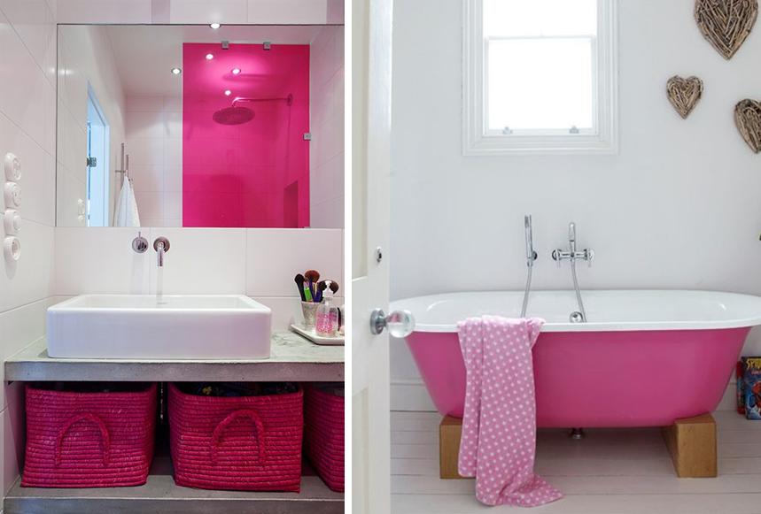 deco salle de bain rose et gris salle