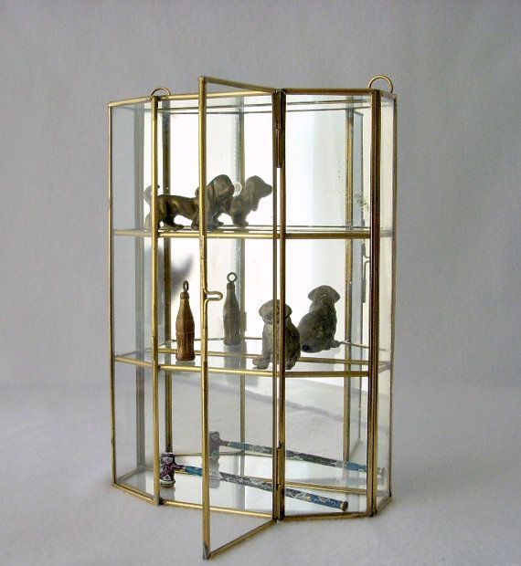 Vintage Glass And Brass Mirrored Cabinet Wall Curio
