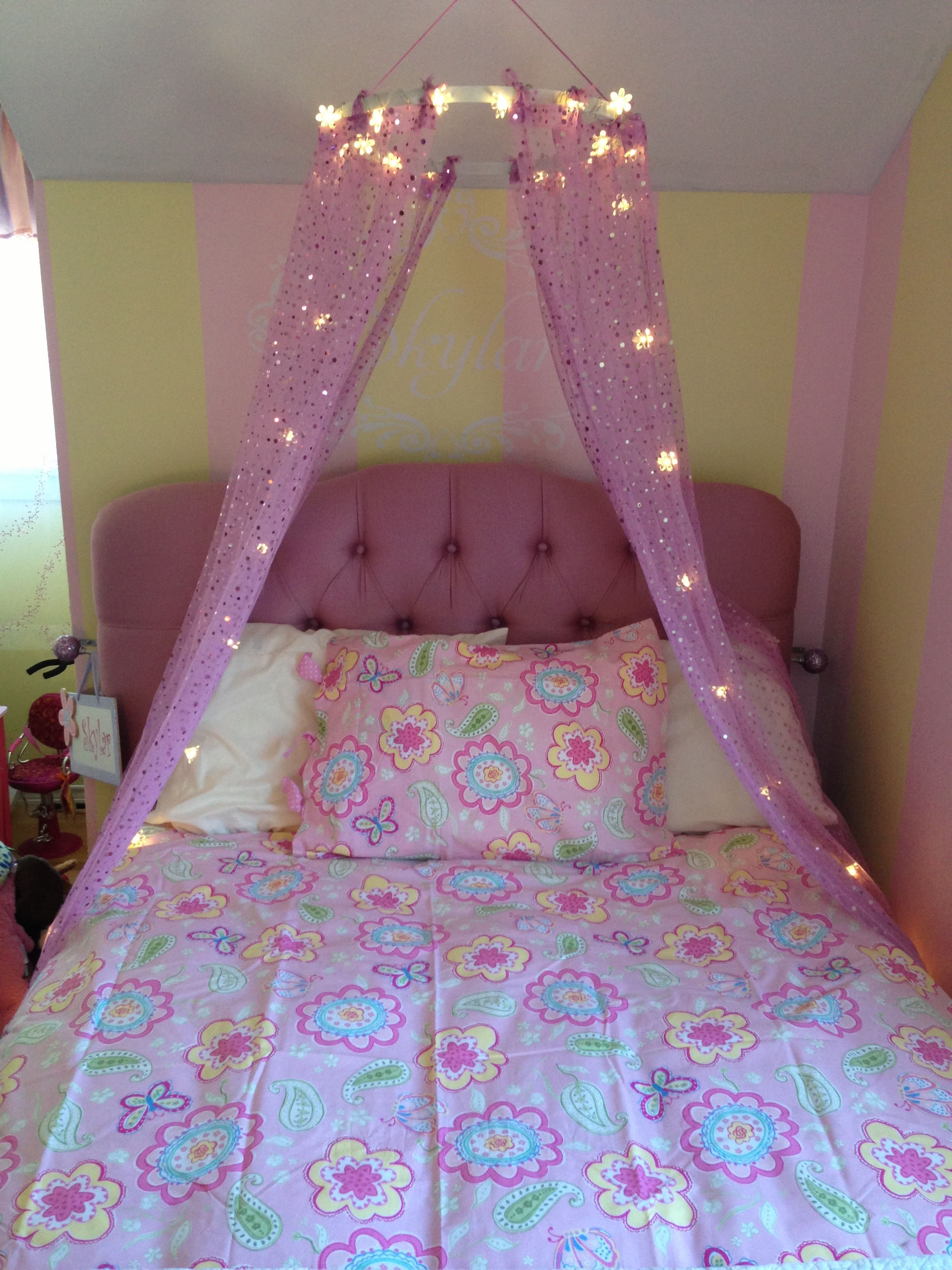 Girls bed canopy ideas - Little Girl S Bed Diy Canopy